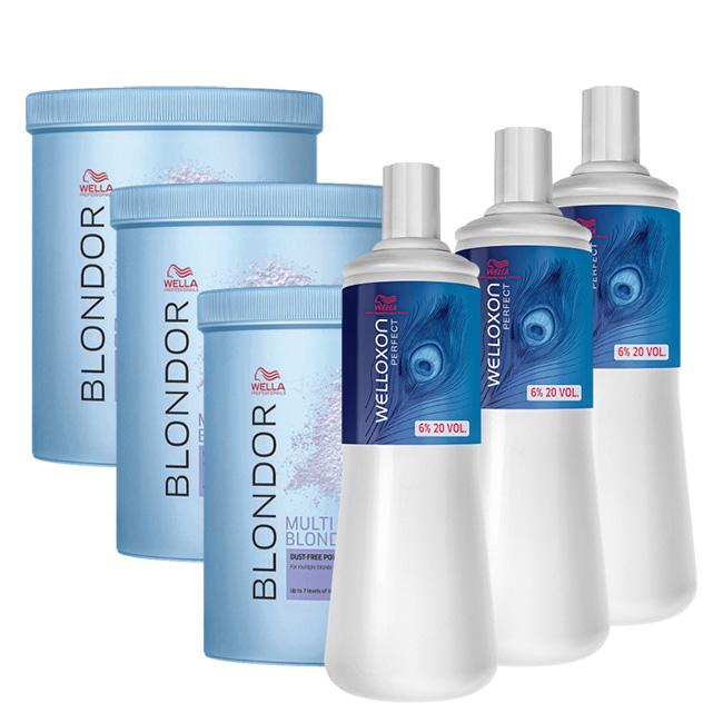 Kit Wella Professionals Blondor Multi Blonde + Oxidante 20 Volumes (6 itens)