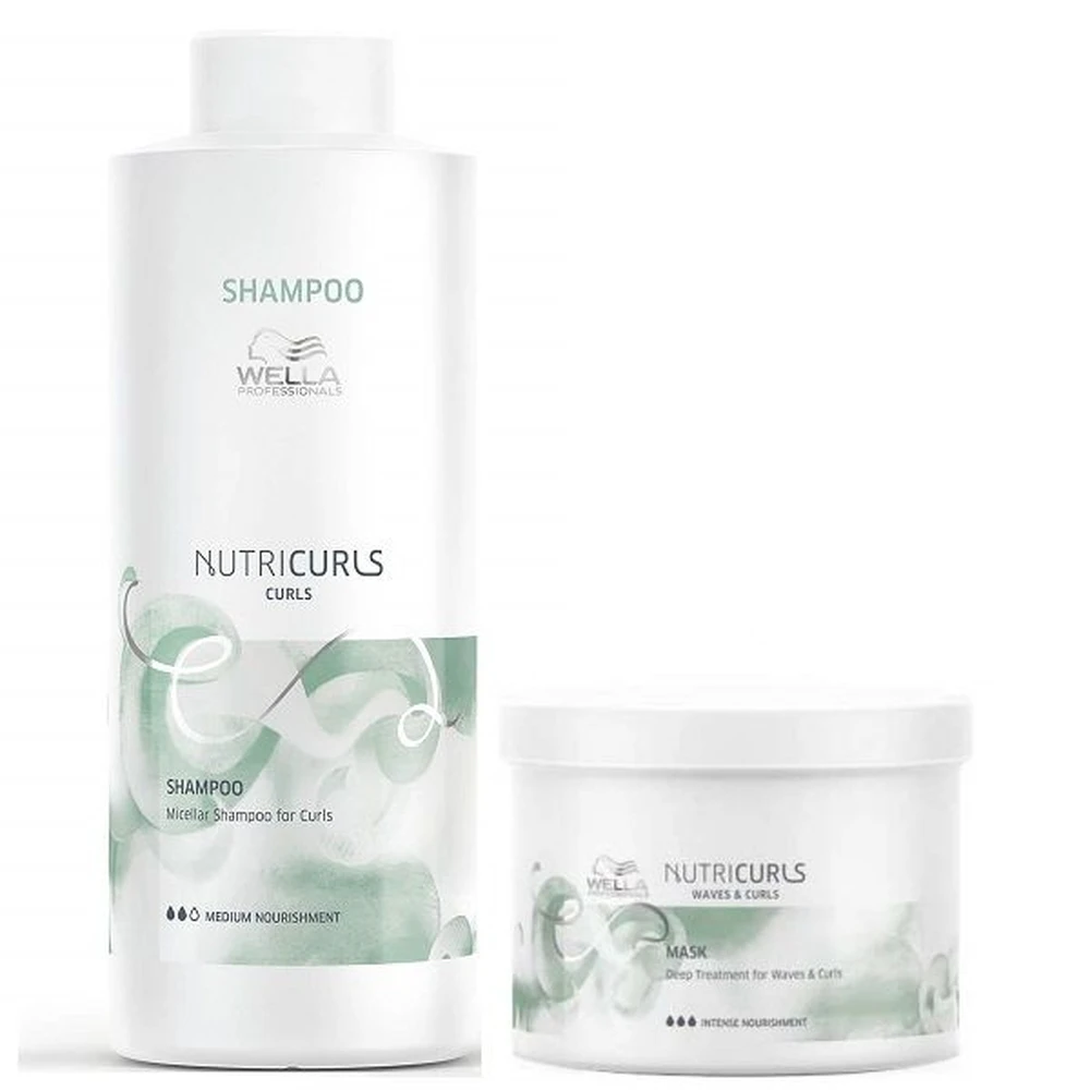 Kit Wella Nutricurls Shampoo 1 Litro e Máscara 500 ml