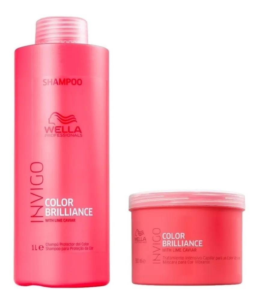 Kit Wella Invigo Color Brilliance Shampoo 1 Litro  e Máscara 500G