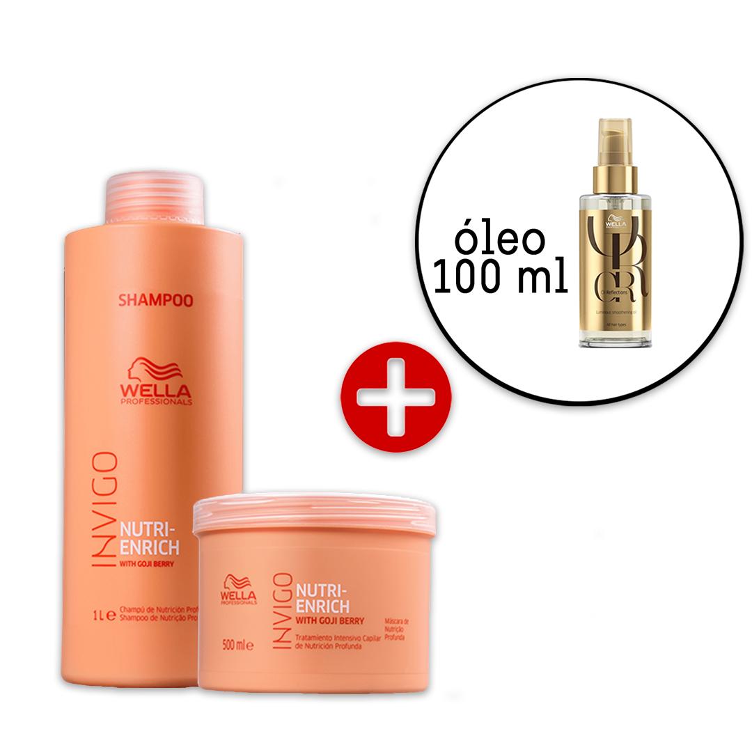 Kit Wella Professionals Invigo Nutri-Enrich Shampoo e Máscara + Oil Reflections