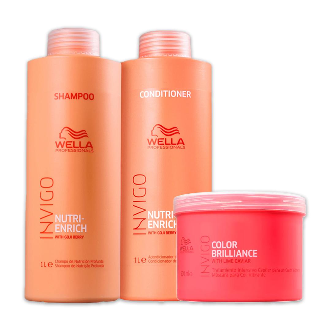 Kit Wella Professionals Invigo Nutri-Enrich Shampoo - Condicionador e Máscara Invigo Color Brilliance