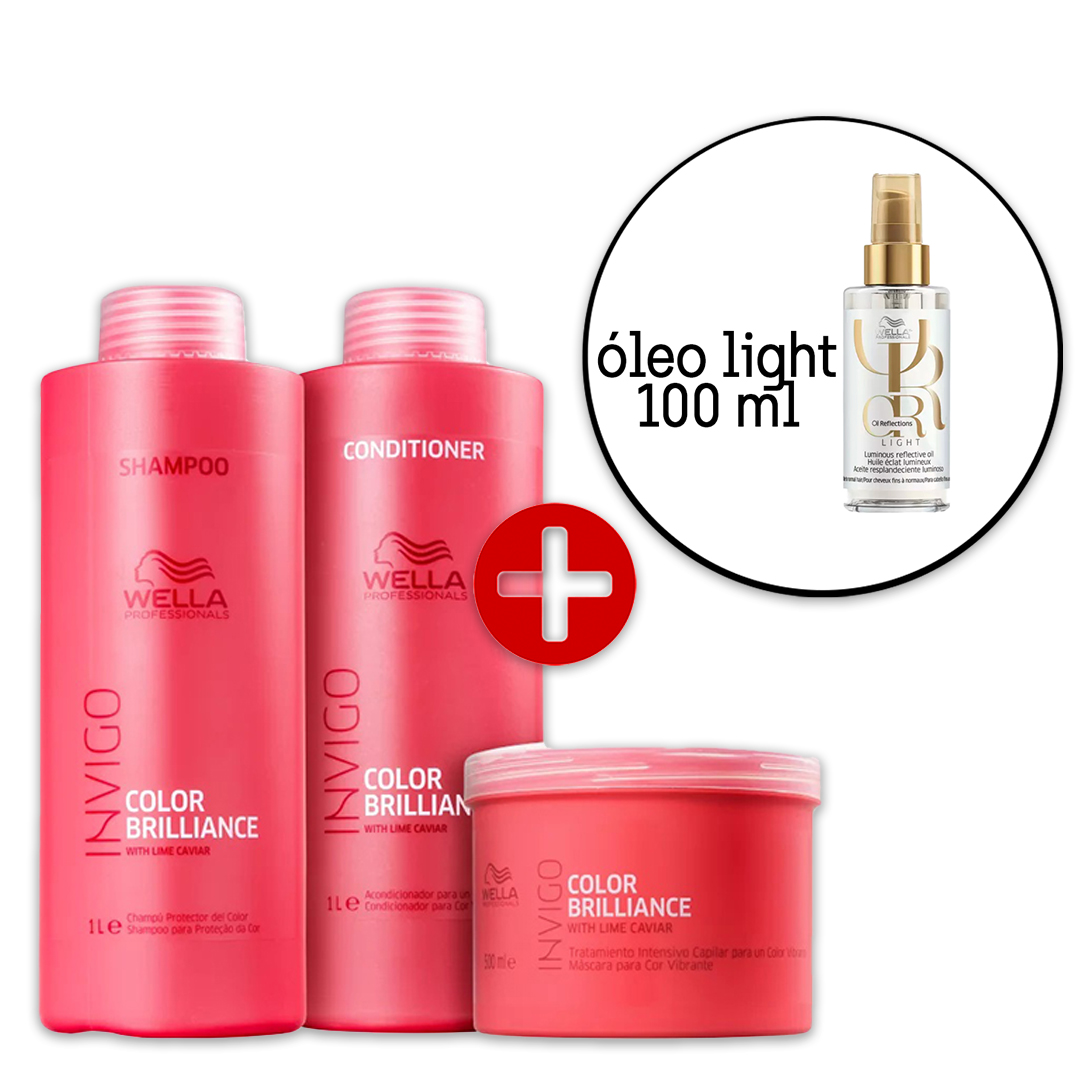Kit Wella Invigo Color Brilliance Salon  - Oil Reflections Light 100ml (4 Produtos)