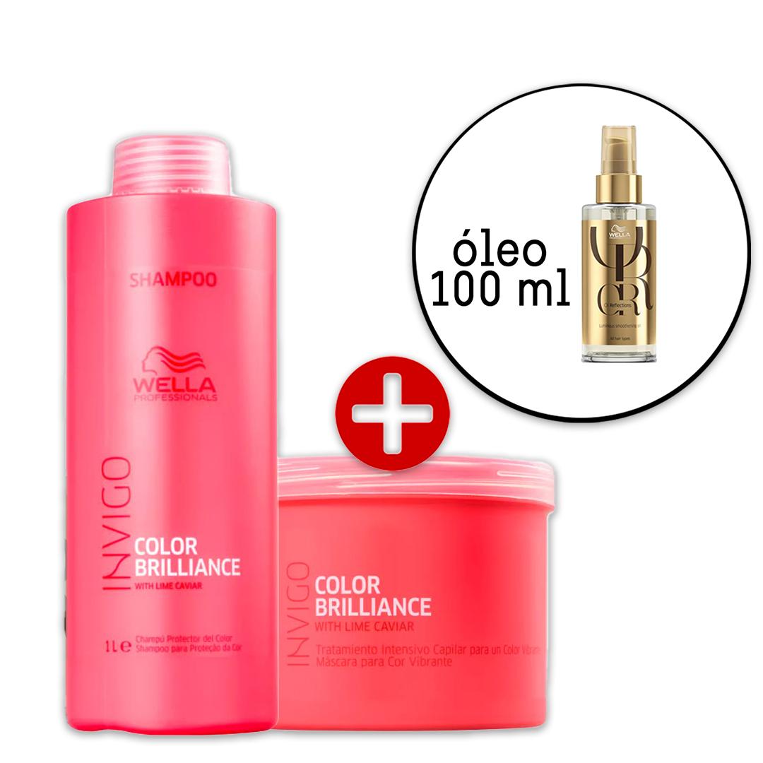 Kit Wella Professionals Invigo Color Brilliance Shampoo e Máscara + Oil Reflections