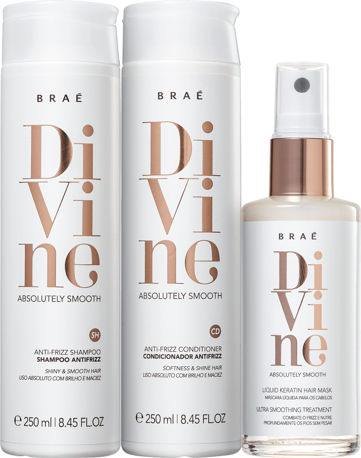 Kit Divine Home Care Shampoo - Condicionador e Máscara Liquida