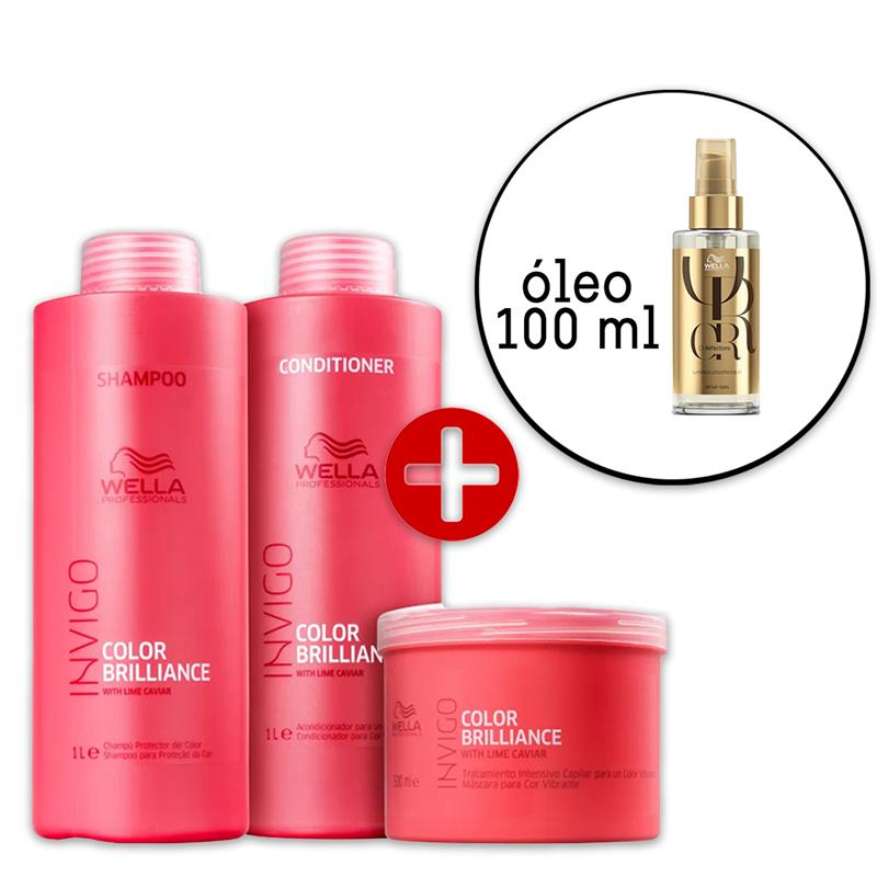 Kit Wella Professionals Invigo Color Brilliance Salon - Oil Reflections 100ml - 4 Produtos