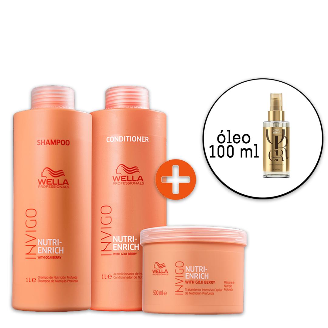 Kit Wella Professionals Invigo Nutri-Enrich Salon - Oil Reflections 100ml (4 Produtos)